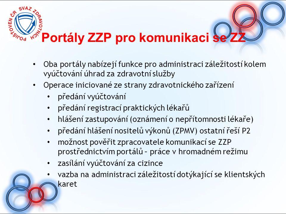 Portály ZZP pro komunikaci se ZZ Oba portály nabízejí funkce pro administraci záležitostí kolem vyúčtování úhrad za zdravotní služby Operace iniciovan