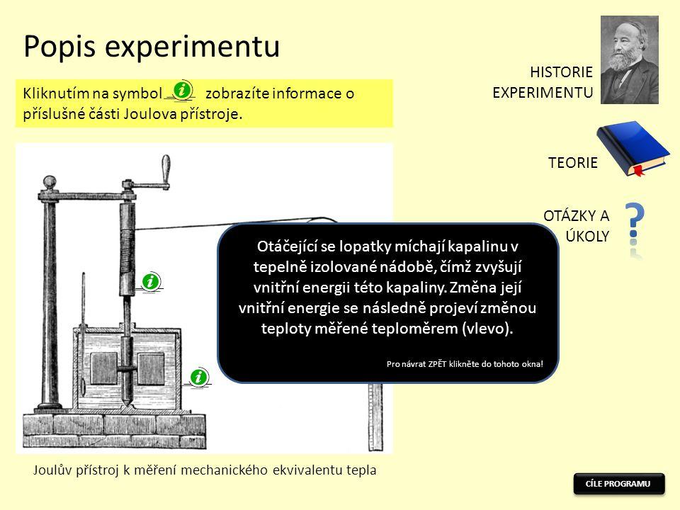 Popis experimentu Joulův přístroj k měření mechanického ekvivalentu tepla Kliknutím na symbol zobrazíte informace o příslušné části Joulova přístroje.