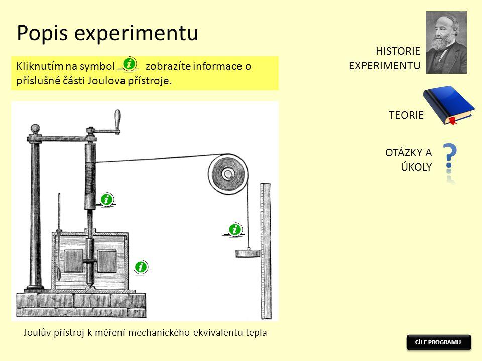 CÍLE PROGRAMU Popis experimentu Joulův přístroj k měření mechanického ekvivalentu tepla Kliknutím na symbol zobrazíte informace o příslušné části Joulova přístroje.