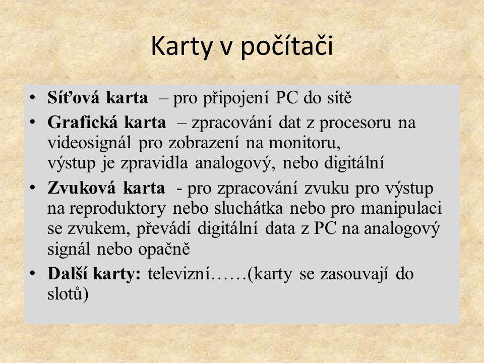 Periferní zařízení Klávesnice – zadávání údajů do PC Monitor – zobrazení informací z PC Myš - zadávání dat do PC.