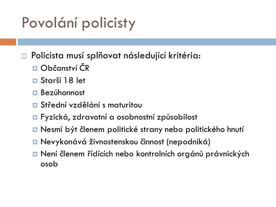 Povolání policisty  Policista musí splňovat následující kritéria:  Občanství ČR  Starší 18 let  Bezúhonnost  Střední vzdělání s maturitou  Fyzic