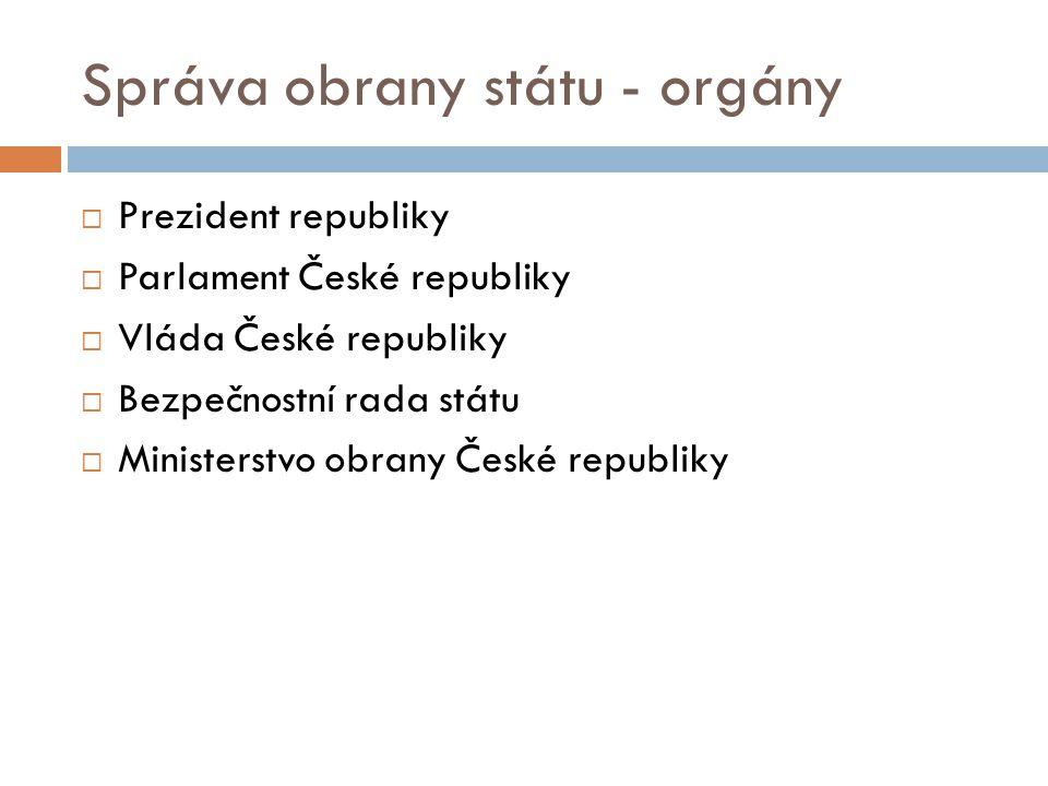 Správa obrany státu - orgány  Prezident republiky  Parlament České republiky  Vláda České republiky  Bezpečnostní rada státu  Ministerstvo obrany České republiky