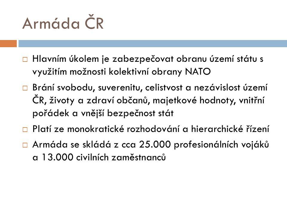 Armáda ČR  Hlavním úkolem je zabezpečovat obranu území státu s využitím možnosti kolektivní obrany NATO  Brání svobodu, suverenitu, celistvost a nezávislost území ČR, životy a zdraví občanů, majetkové hodnoty, vnitřní pořádek a vnější bezpečnost stát  Platí ze monokratické rozhodování a hierarchické řízení  Armáda se skládá z cca 25.000 profesionálních vojáků a 13.000 civilních zaměstnanců