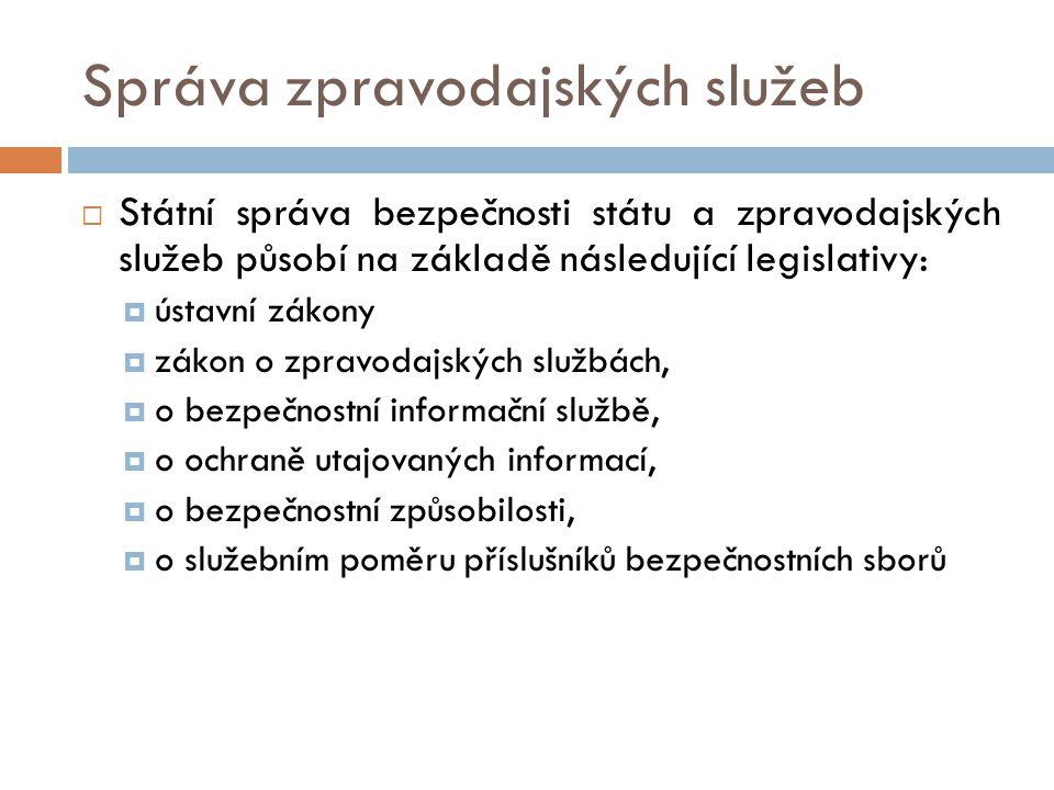 Správa zpravodajských služeb  Státní správa bezpečnosti státu a zpravodajských služeb působí na základě následující legislativy:  ústavní zákony  z