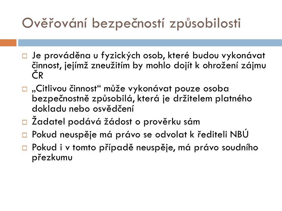Ověřování bezpečností způsobilosti  Je prováděna u fyzických osob, které budou vykonávat činnost, jejímž zneužitím by mohlo dojít k ohrožení zájmu ČR