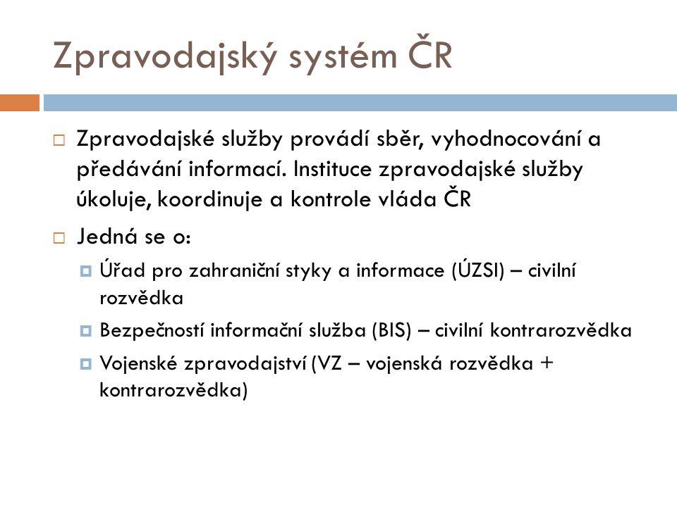 Zpravodajský systém ČR  Zpravodajské služby provádí sběr, vyhodnocování a předávání informací. Instituce zpravodajské služby úkoluje, koordinuje a ko
