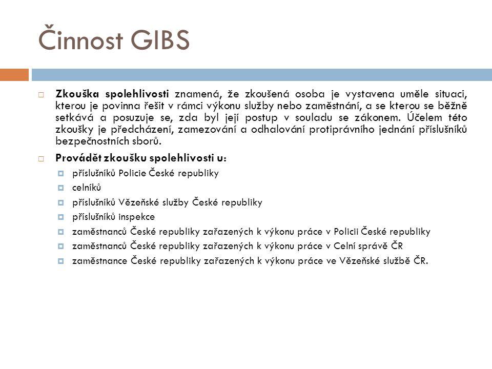 Činnost GIBS  Zkouška spolehlivosti znamená, že zkoušená osoba je vystavena uměle situaci, kterou je povinna řešit v rámci výkonu služby nebo zaměstnání, a se kterou se běžně setkává a posuzuje se, zda byl její postup v souladu se zákonem.