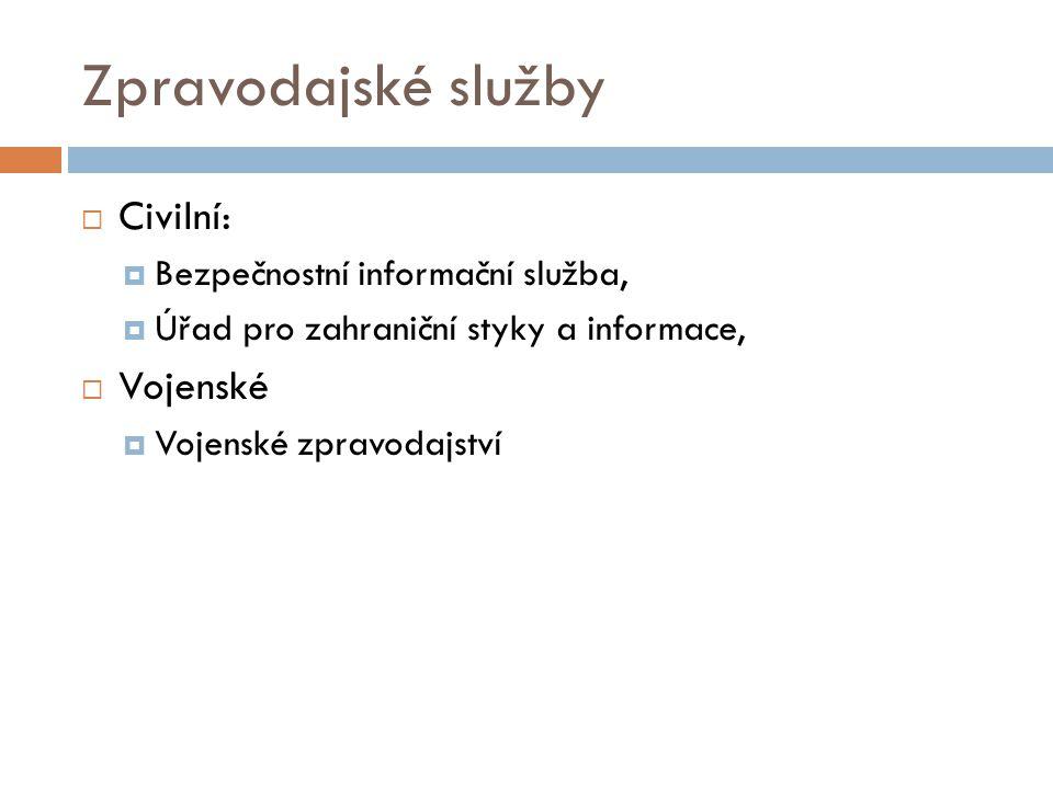 Zpravodajský systém ČR  Zpravodajské služby provádí sběr, vyhodnocování a předávání informací.