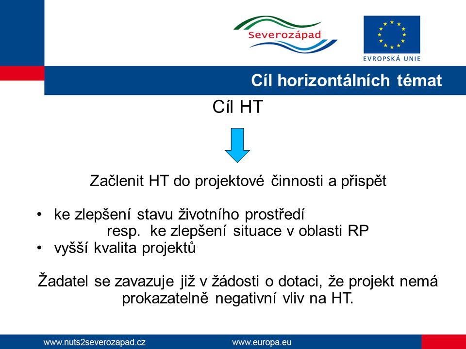 Cíl horizontálních témat Cíl HT Začlenit HT do projektové činnosti a přispět ke zlepšení stavu životního prostředí resp.