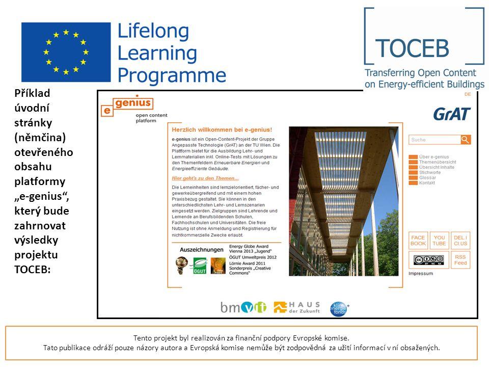 """Příklad úvodní stránky (němčina) otevřeného obsahu platformy """"e-genius , který bude zahrnovat výsledky projektu TOCEB: Tento projekt byl realizován za finanční podpory Evropské komise."""