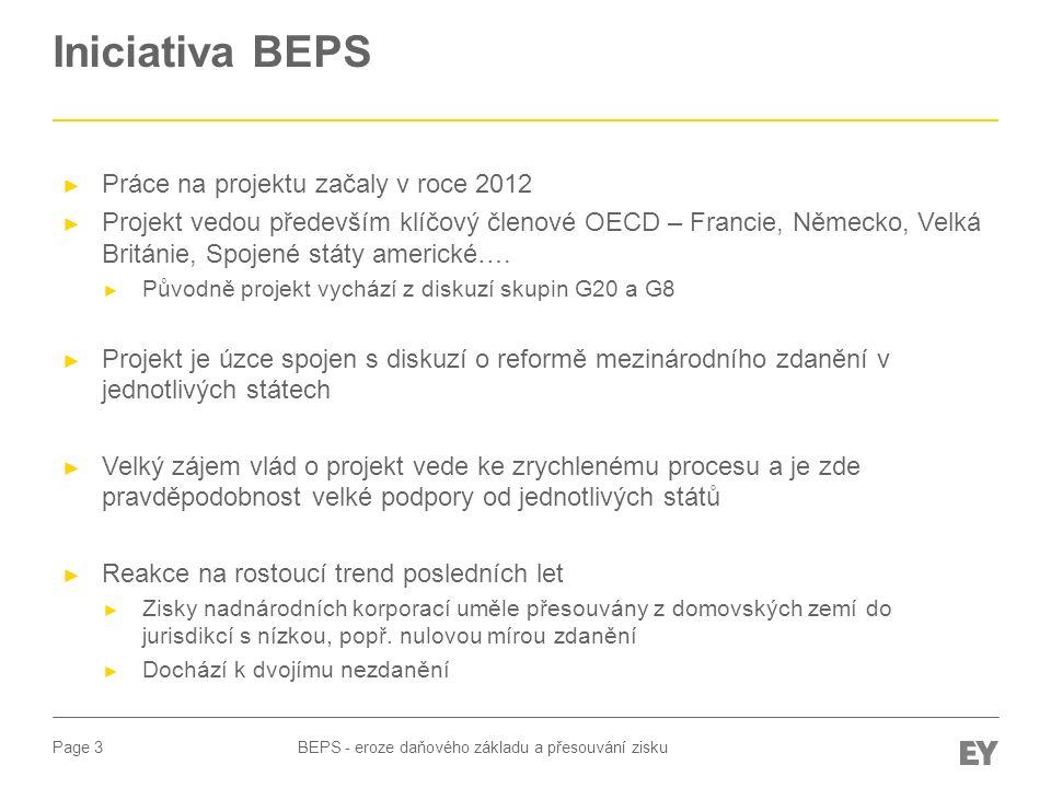 Page 4 Iniciativa BEPS BEPS - eroze daňového základu a přesouvání zisku ► Příklad / obrázek: ► Big 7 znázorňuje Hong Kong, Irsko, Libanon, Libérii, Panamu, Singapur, and Švýcarsko.
