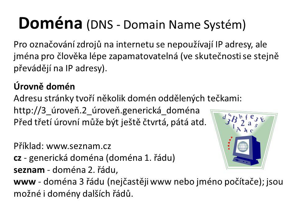 Doména (DNS - Domain Name Systém) Pro označování zdrojů na internetu se nepoužívají IP adresy, ale jména pro člověka lépe zapamatovatelná (ve skutečnosti se stejně převádějí na IP adresy).