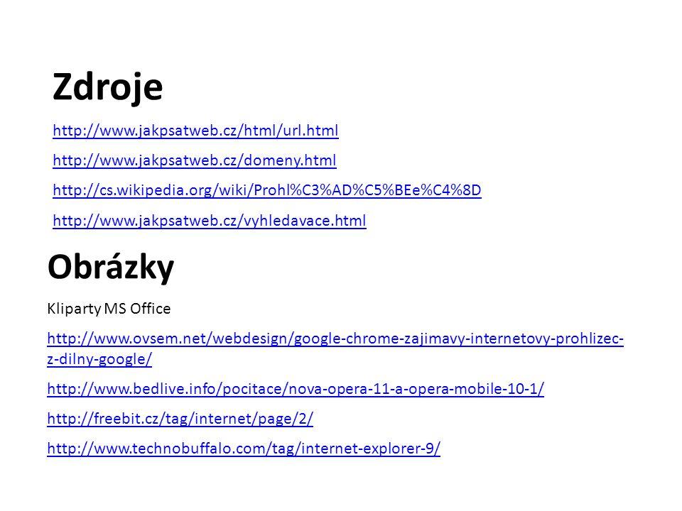 Zdroje http://www.jakpsatweb.cz/html/url.html http://www.jakpsatweb.cz/domeny.html http://cs.wikipedia.org/wiki/Prohl%C3%AD%C5%BEe%C4%8D http://www.jakpsatweb.cz/vyhledavace.html Obrázky Kliparty MS Office http://www.ovsem.net/webdesign/google-chrome-zajimavy-internetovy-prohlizec- z-dilny-google/ http://www.bedlive.info/pocitace/nova-opera-11-a-opera-mobile-10-1/ http://freebit.cz/tag/internet/page/2/ http://www.technobuffalo.com/tag/internet-explorer-9/