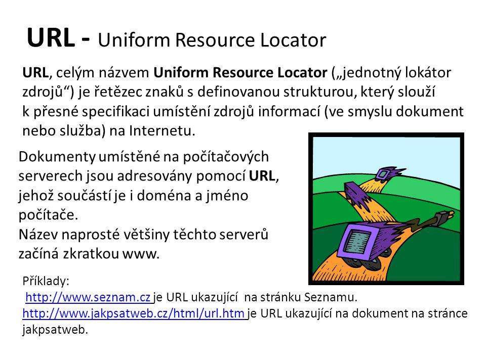 """URL - Uniform Resource Locator URL, celým názvem Uniform Resource Locator (""""jednotný lokátor zdrojů ) je řetězec znaků s definovanou strukturou, který slouží k přesné specifikaci umístění zdrojů informací (ve smyslu dokument nebo služba) na Internetu."""