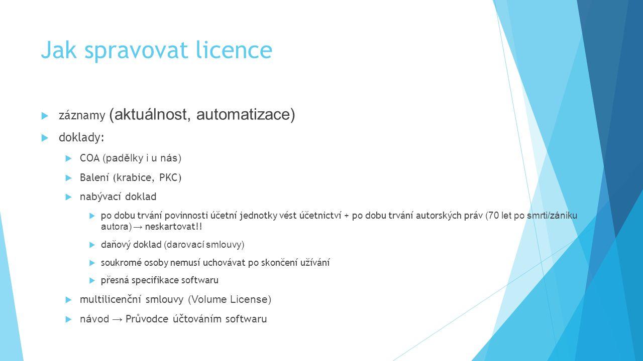 Jak spravovat licence  záznamy (aktuálnost, automatizace)  doklady:  COA (padělky i u nás)  Balení (krabice, PKC)  nabývací doklad  po dobu trvá