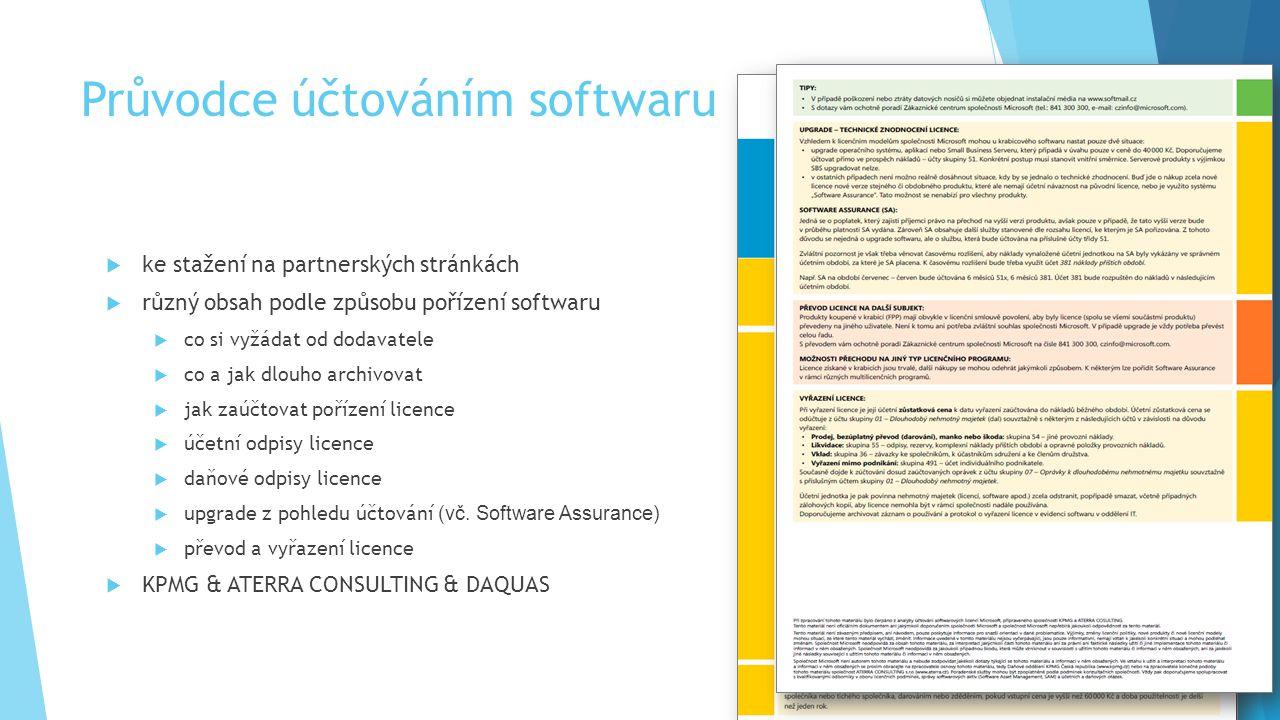 Průvodce účtováním softwaru  ke stažení na partnerských stránkách  různý obsah podle způsobu pořízení softwaru  co si vyžádat od dodavatele  co a