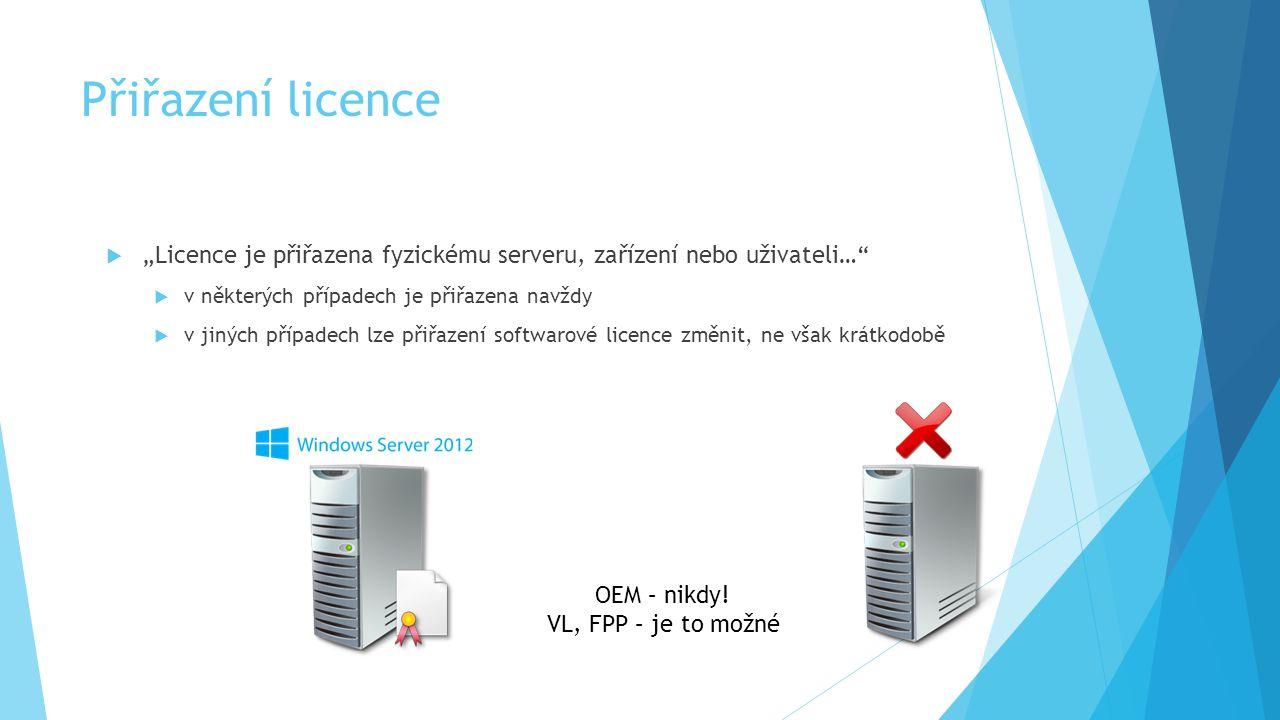 """Přiřazení licence  """"Licence je přiřazena fyzickému serveru, zařízení nebo uživateli…""""  v některých případech je přiřazena navždy  v jiných případec"""