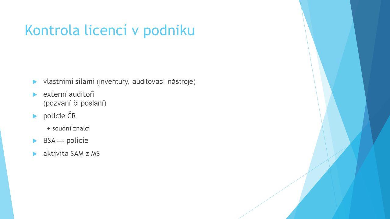 Kontrola licencí v podniku  vlastními silami (inventury, auditovací nástroje)  externí auditoři (pozvaní či poslaní)  policie ČR + soudní znalci 