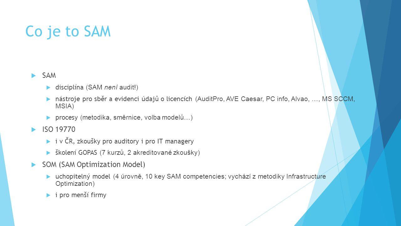 Co je to SAM  SAM  disciplína (SAM není audit!)  nástroje pro sběr a evidenci údajů o licencích (AuditPro, AVE Caesar, PC info, Alvao, …, MS SCCM,