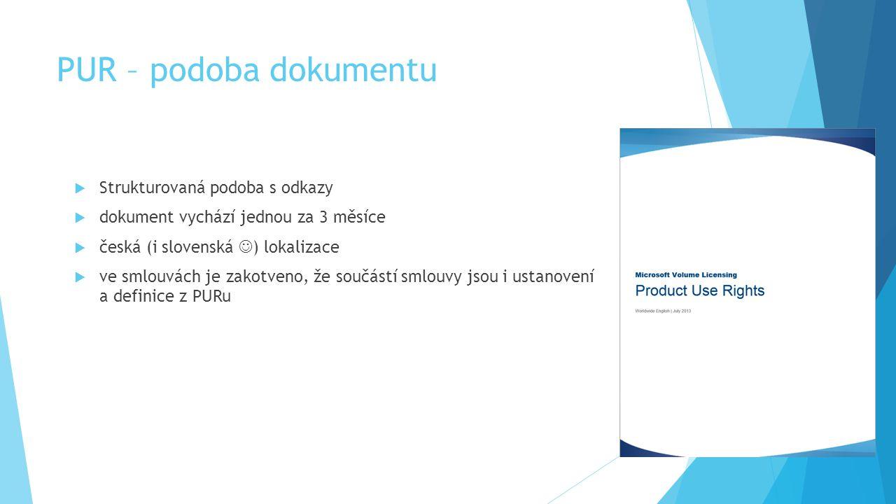 PUR – podoba dokumentu  Strukturovaná podoba s odkazy  dokument vychází jednou za 3 měsíce  česká (i slovenská ) lokalizace  ve smlouvách je zakot