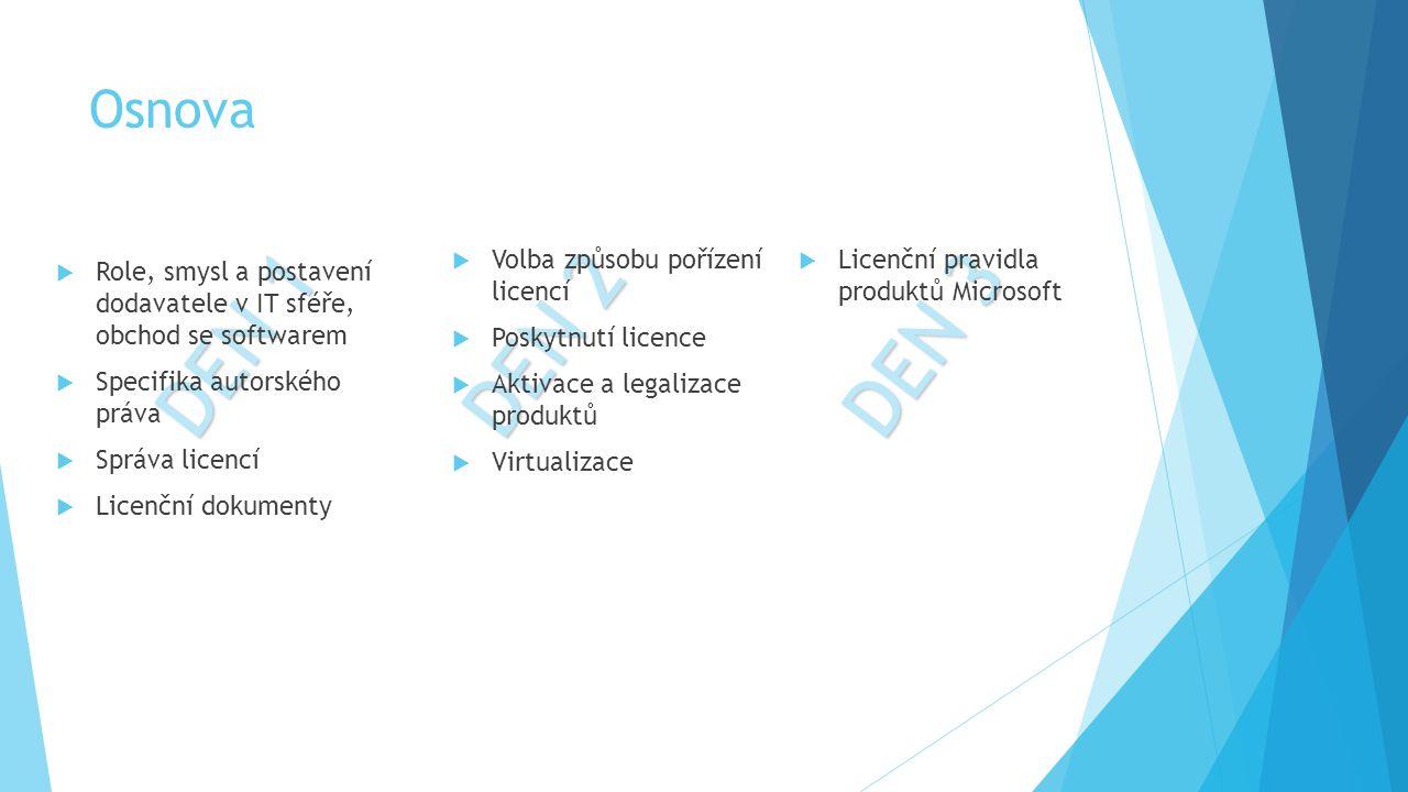 DEN 1  Role, smysl a postavení dodavatele v IT sféře, obchod se softwarem  Specifika autorského práva  Správa licencí  Licenční dokumenty DEN 3 DE