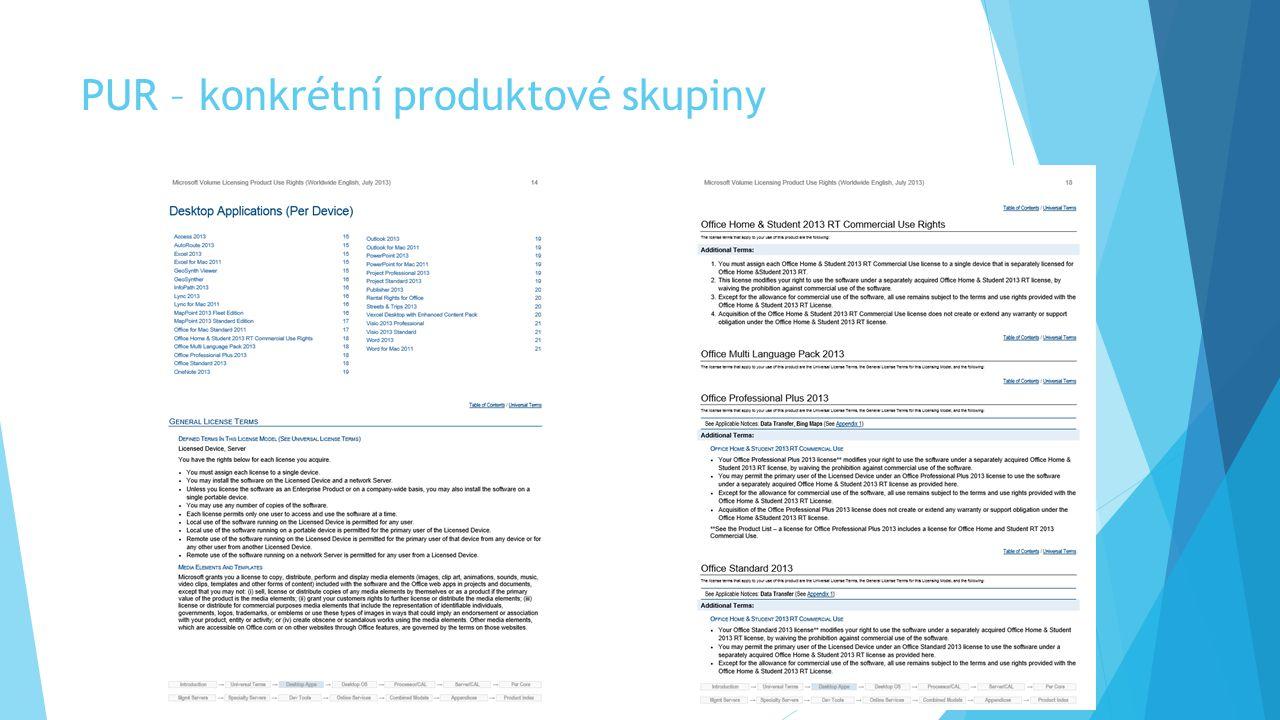 PUR – konkrétní produktové skupiny