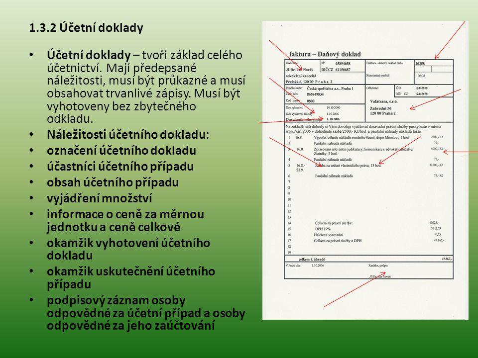 1.3.2 Účetní doklady Druhy účetních dokladů: vnitřní vnější Opravy účetních dokladů: doklad nebyl zaúčtován do účetních knih doklad již byl zaúčtován do účetních knih