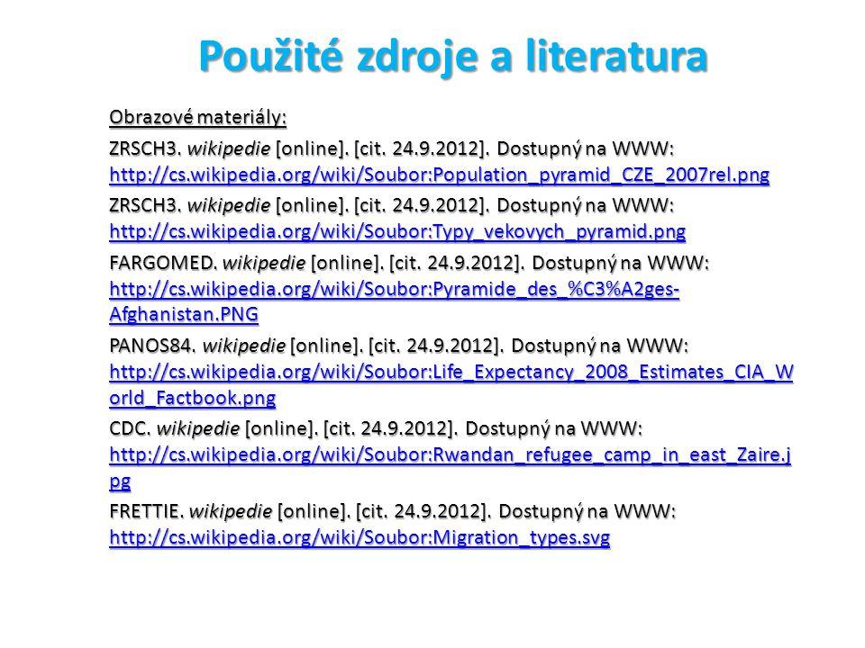 Použité zdroje a literatura Obrazové materiály: ZRSCH3.