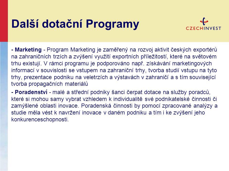 Další dotační Programy - Marketing - Program Marketing je zaměřený na rozvoj aktivit českých exportérů na zahraničních trzích a zvýšení využití exportních příležitostí, které na světovém trhu existují.
