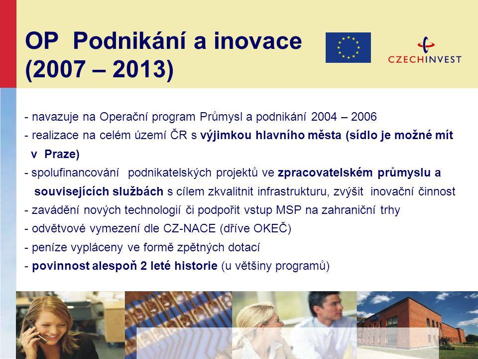 OP Podnikání a inovace (2007 – 2013) - navazuje na Operační program Průmysl a podnikání 2004 – 2006 - realizace na celém území ČR s výjimkou hlavního města (sídlo je možné mít v Praze) - spolufinancování podnikatelských projektů ve zpracovatelském průmyslu a souvisejících službách s cílem zkvalitnit infrastrukturu, zvýšit inovační činnost - zavádění nových technologií či podpořit vstup MSP na zahraniční trhy - odvětvové vymezení dle CZ-NACE (dříve OKEČ) - peníze vypláceny ve formě zpětných dotací - povinnost alespoň 2 leté historie (u většiny programů)