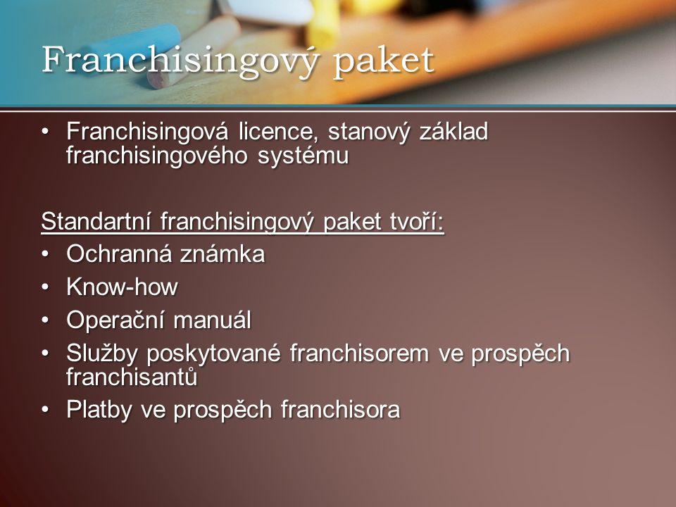 Franchisingový paket Franchisingová licence, stanový základ franchisingového systémuFranchisingová licence, stanový základ franchisingového systému Standartní franchisingový paket tvoří: Ochranná známkaOchranná známka Know-howKnow-how Operační manuálOperační manuál Služby poskytované franchisorem ve prospěch franchisantůSlužby poskytované franchisorem ve prospěch franchisantů Platby ve prospěch franchisoraPlatby ve prospěch franchisora