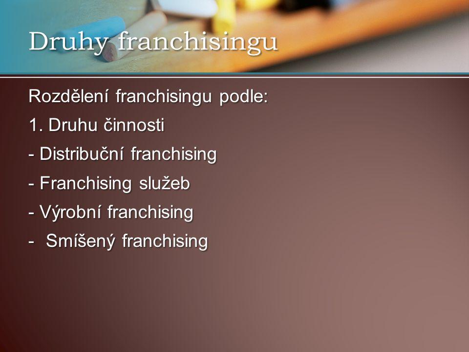 Druhy franchisingu Rozdělení franchisingu podle: 1.