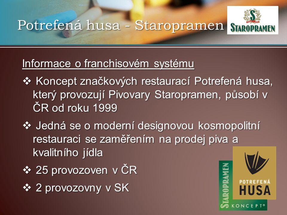 Potrefená husa - Staropramen Informace o franchisovém systému  Koncept značkových restaurací Potrefená husa, který provozují Pivovary Staropramen, působí v ČR od roku 1999  Jedná se o moderní designovou kosmopolitní restauraci se zaměřením na prodej piva a kvalitního jídla  25 provozoven v ČR  2 provozovny v SK