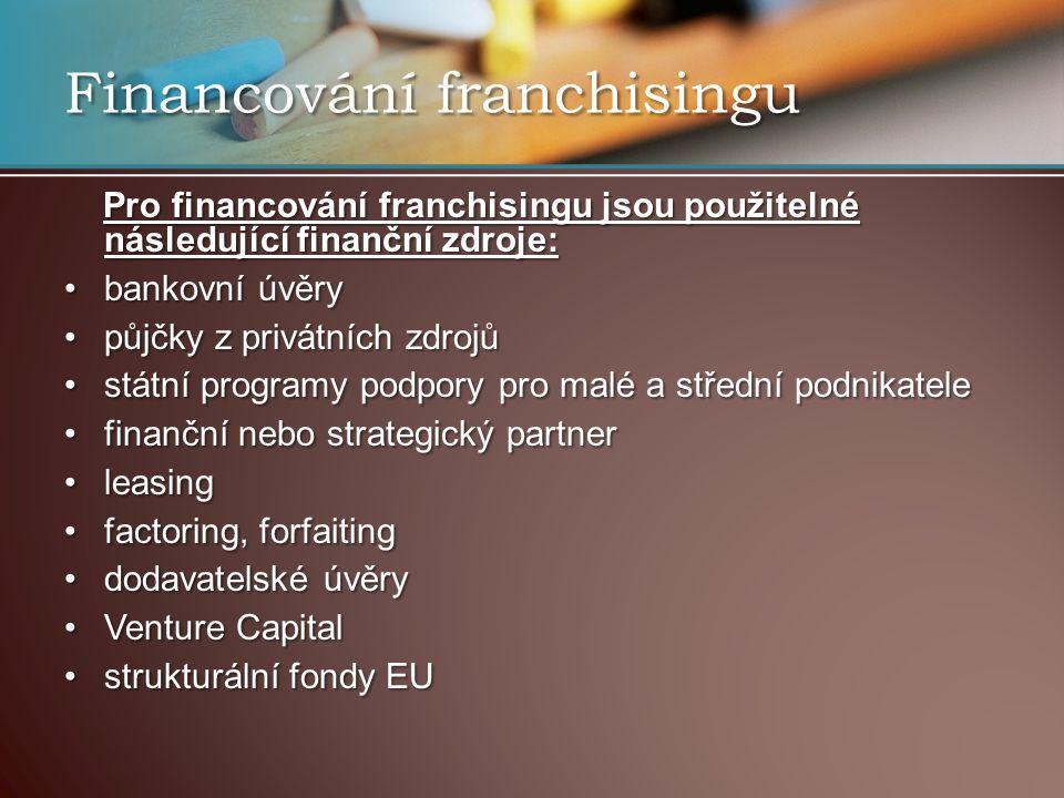 Financování franchisingu Pro financování franchisingu jsou použitelné následující finanční zdroje: Pro financování franchisingu jsou použitelné následující finanční zdroje: bankovní úvěrybankovní úvěry půjčky z privátních zdrojůpůjčky z privátních zdrojů státní programy podpory pro malé a střední podnikatelestátní programy podpory pro malé a střední podnikatele finanční nebo strategický partnerfinanční nebo strategický partner leasingleasing factoring, forfaitingfactoring, forfaiting dodavatelské úvěrydodavatelské úvěry Venture CapitalVenture Capital strukturální fondy EUstrukturální fondy EU