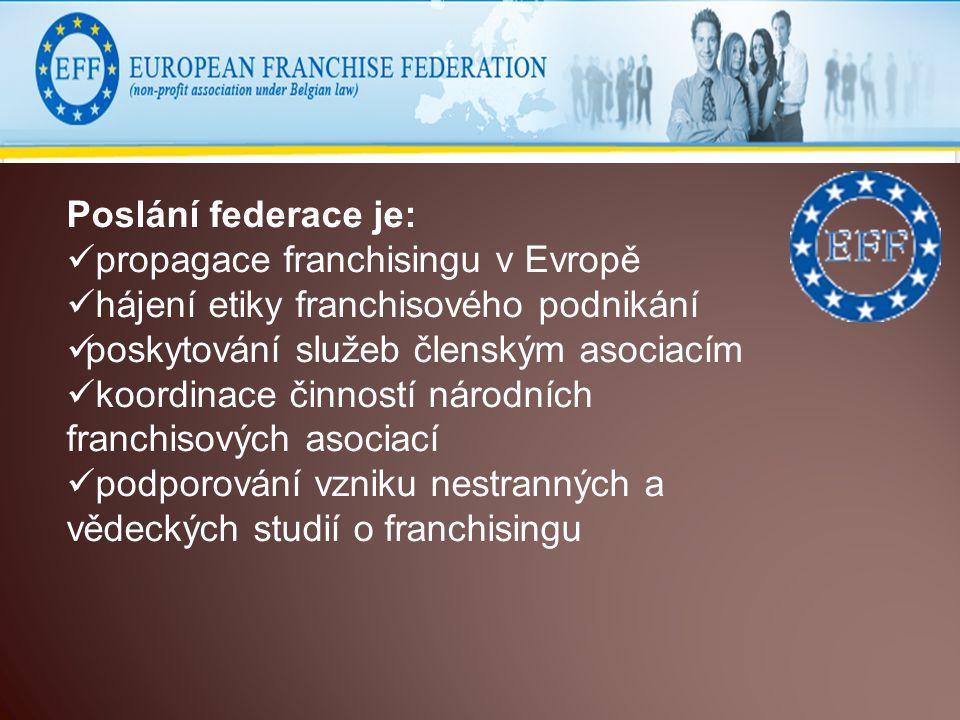 Poslání federace je: propagace franchisingu v Evropě hájení etiky franchisového podnikání poskytování služeb členským asociacím koordinace činností národních franchisových asociací podporování vzniku nestranných a vědeckých studií o franchisingu