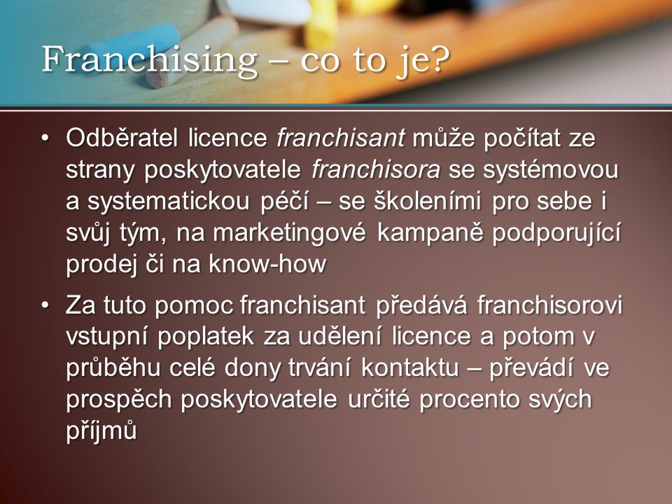 Franchising – co to je.