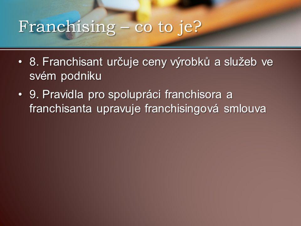 Aktuální stav franchisingu v ČR dle průzkumů ČAF existuje asi 130 franchisových společností dle průzkumů ČAF existuje asi 130 franchisových společností v oblasti služeb jsou zastoupeny – restaurace, rychlá občerstvení v oblasti služeb jsou zastoupeny – restaurace, rychlá občerstvení