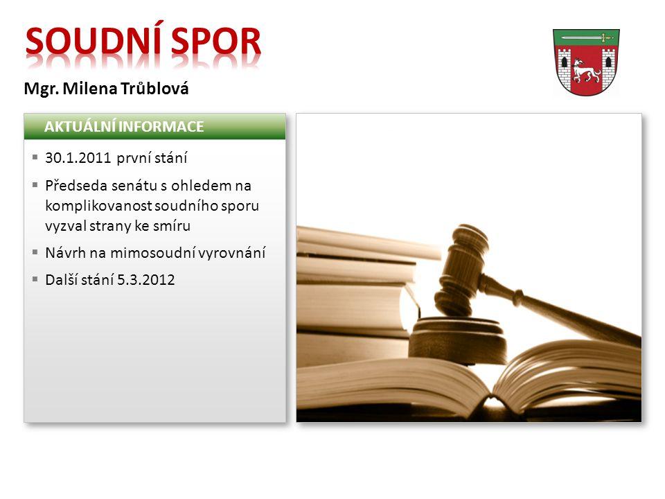 Mgr. Milena Trůblová AKTUÁLNÍ INFORMACE  30.1.2011 první stání  Předseda senátu s ohledem na komplikovanost soudního sporu vyzval strany ke smíru 
