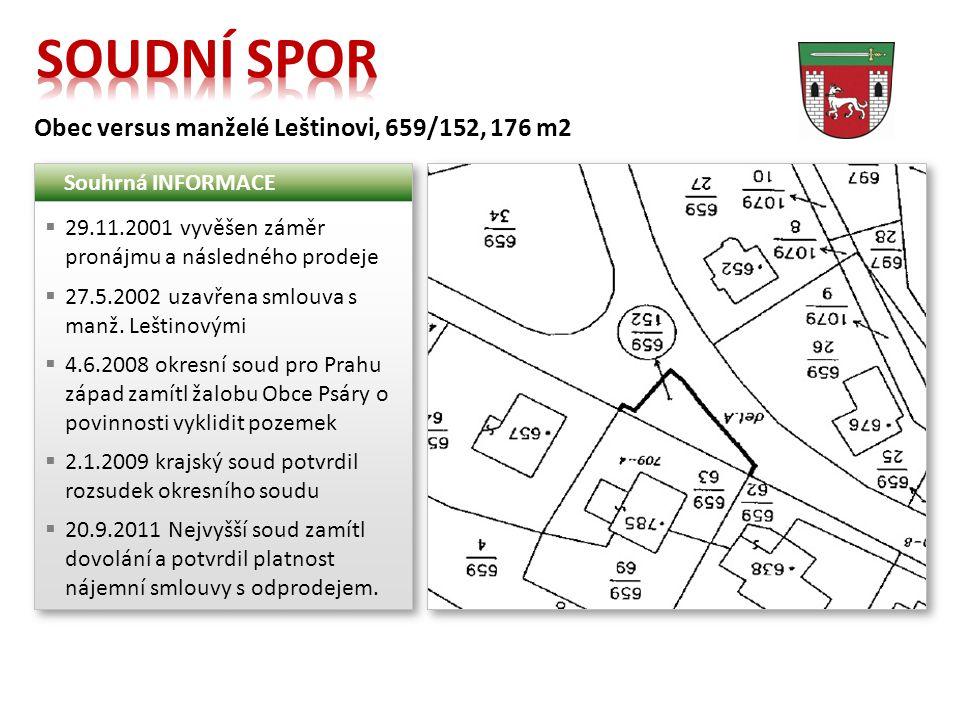 Obec versus manželé Leštinovi, 659/152, 176 m2 Souhrná INFORMACE  29.11.2001 vyvěšen záměr pronájmu a následného prodeje  27.5.2002 uzavřena smlouva