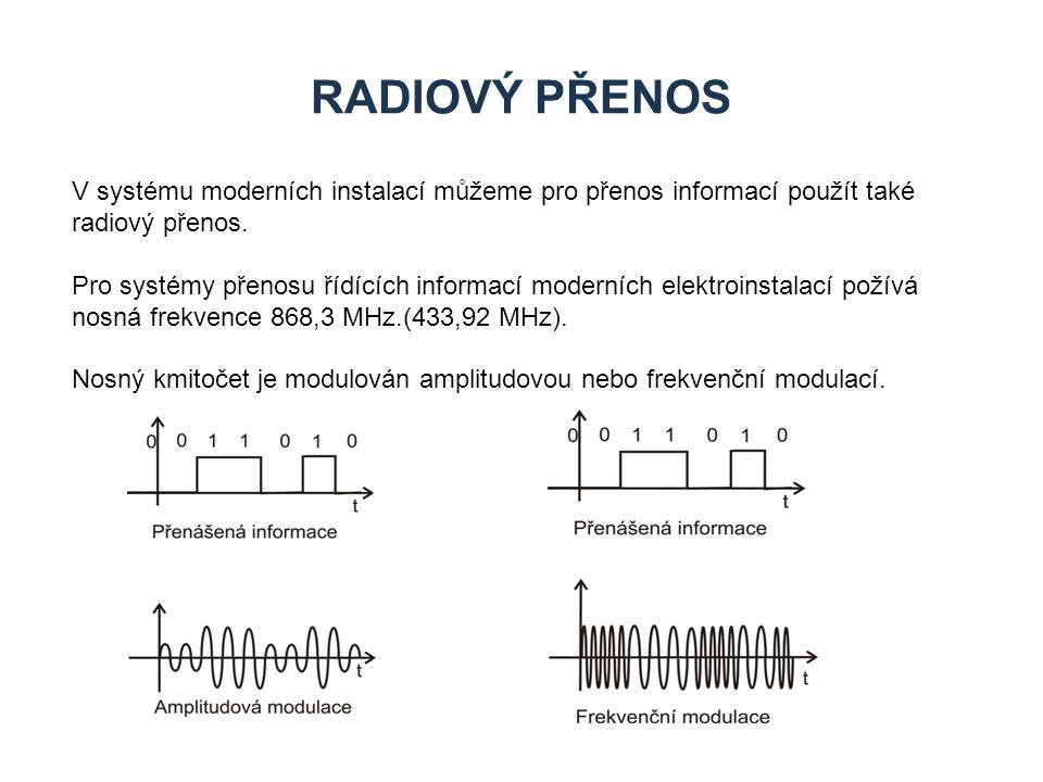 RADIOVÝ PŘENOS V systému moderních instalací můžeme pro přenos informací použít také radiový přenos. Pro systémy přenosu řídících informací moderních