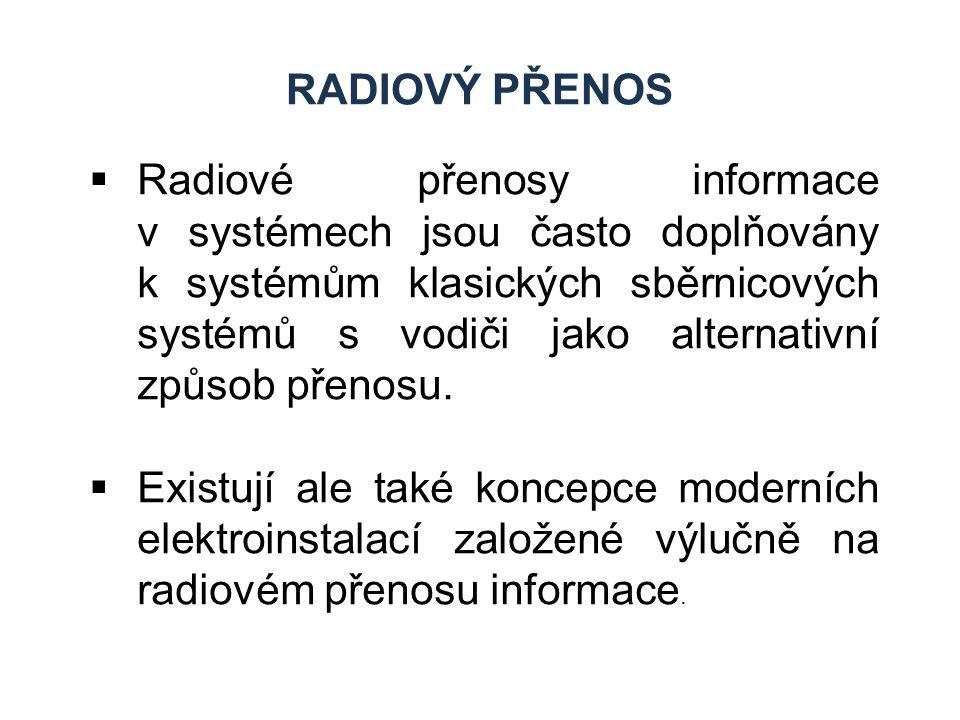 RADIOVÝ PŘENOS  Radiové přenosy informace v systémech jsou často doplňovány k systémům klasických sběrnicových systémů s vodiči jako alternativní způ