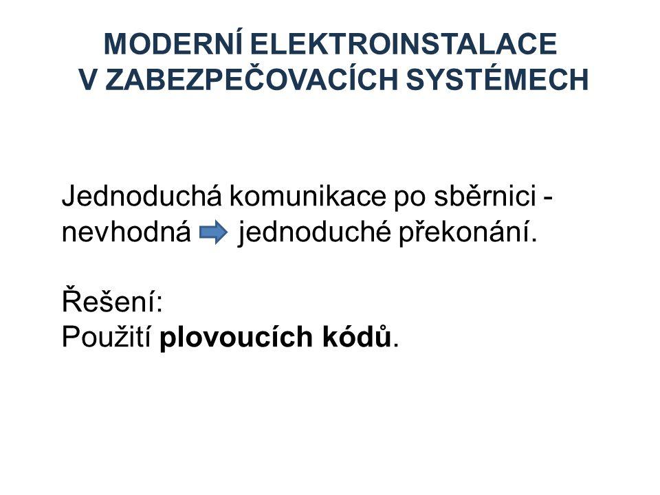 MODERNÍ ELEKTROINSTALACE V ZABEZPEČOVACÍCH SYSTÉMECH Jednoduchá komunikace po sběrnici - nevhodná jednoduché překonání. Řešení: Použití plovoucích kód