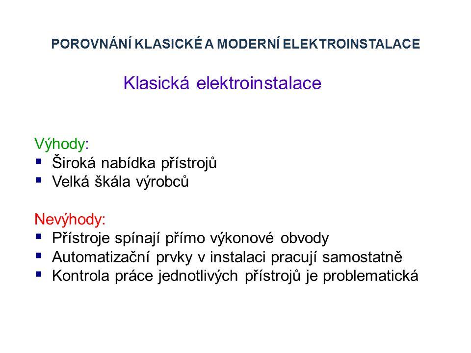 POROVNÁNÍ KLASICKÉ A MODERNÍ ELEKTROINSTALACE Klasická elektroinstalace Výhody:  Široká nabídka přístrojů  Velká škála výrobců Nevýhody:  Přístroje