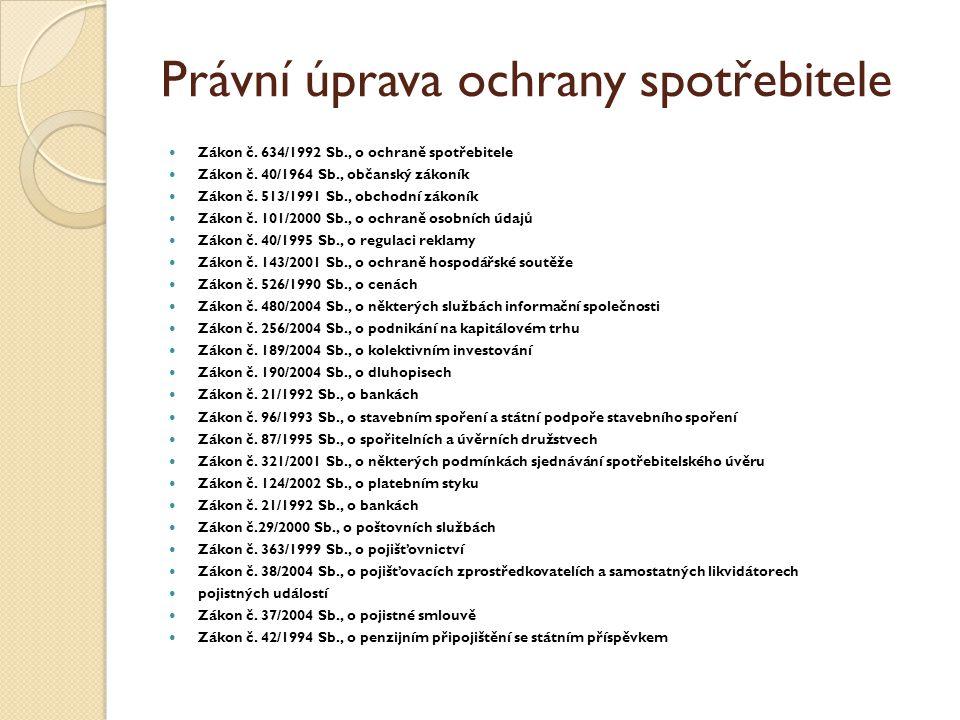 Právní úprava ochrany spotřebitele Zákon č. 634/1992 Sb., o ochraně spotřebitele Zákon č.