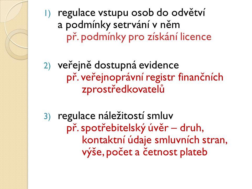 1) regulace vstupu osob do odvětví a podmínky setrvání v něm př.
