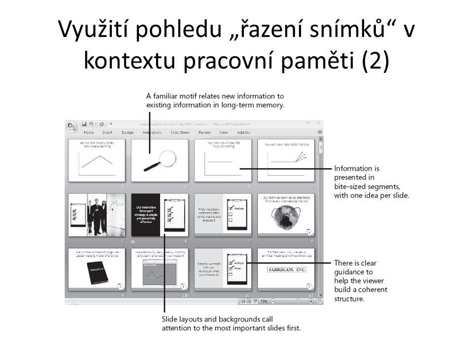 """Využití pohledu """"řazení snímků v kontextu pracovní paměti (2)"""