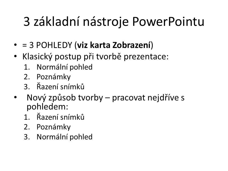 3 základní nástroje PowerPointu = 3 POHLEDY (viz karta Zobrazení) Klasický postup při tvorbě prezentace: 1.Normální pohled 2.Poznámky 3.Řazení snímků Nový způsob tvorby – pracovat nejdříve s pohledem: 1.Řazení snímků 2.Poznámky 3.Normální pohled