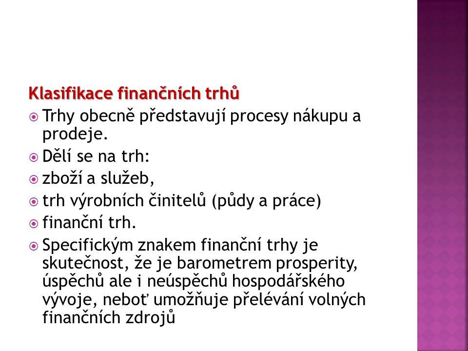 Finanční trhy Finanční trhy jsou neoddělitelnou součástí tržního systému.