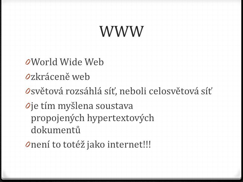 WWW 0 World Wide Web 0 zkráceně web 0 světová rozsáhlá síť, neboli celosvětová síť 0 je tím myšlena soustava propojených hypertextových dokumentů 0 ne