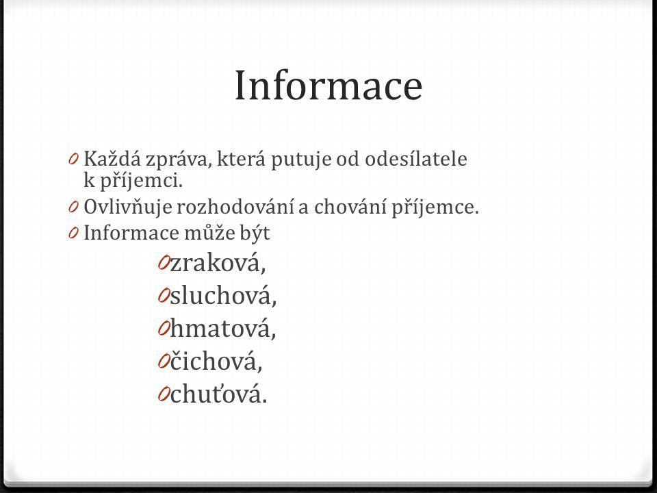 Informace 0 Každá zpráva, která putuje od odesílatele k příjemci. 0 Ovlivňuje rozhodování a chování příjemce. 0 Informace může být 0 zraková, 0 slucho
